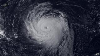 A satellite image of Typhoon Soulik released on 10 July 2013