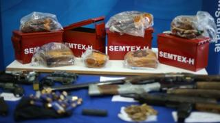 Semtex plastic explosives on display