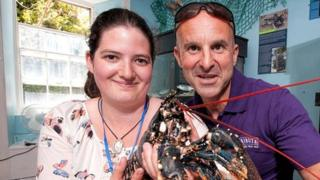 Marine biologist Chloe Kingston with St Austell Brewery's Andrew Ferguson with Gary the lobster
