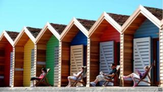 Beach huts in Blyth, Northumberland