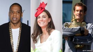 Jay Z, Catherine, Duchess of Cambridge, Andy Murray
