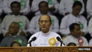 Burmese President Thein Sein gives a speech in Rangoon on 2 June 2013