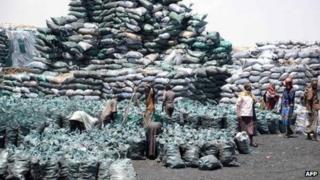 Sacks of charcoal in Kismayo - Somalia, February 2013