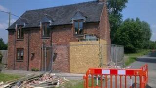 Damaged house in Sutton Lane