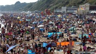 Bournemouth beach on 14 July 2013