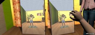 The virtual body could also be seen as reflected in a virtual mirror
