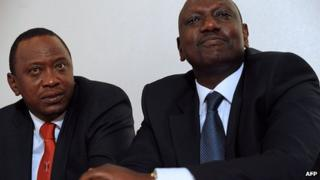 President Uhuru Kenyatta (L) and Willaim Ruto (R) in February 2013