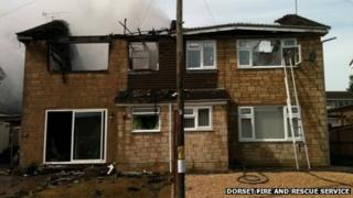 The two semi-detached houses that caught fire