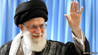 Ayatollah Khamenei waving and smiling