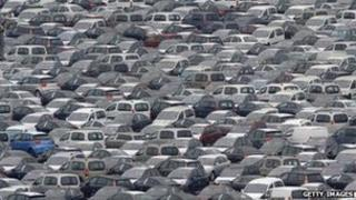 Hundreds of cars in a car park