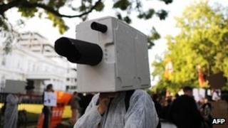 Man dressed as surveillance camera