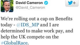 Screen grab of David Cameron tweet