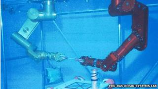Image of autonomous multi-robot collaboration on underwater assembly and intervention tasks
