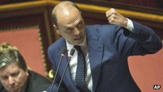 Interior Minister Angelino Alfano in parliament, 16 Jul 13
