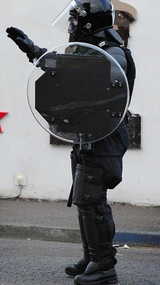 PSNI officer in riot gear