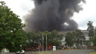 Fire at Lawrence Recycling building on the Vale Industrial Estate in Kidderminster
