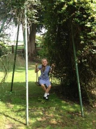 Girl on old Wicksteed swing