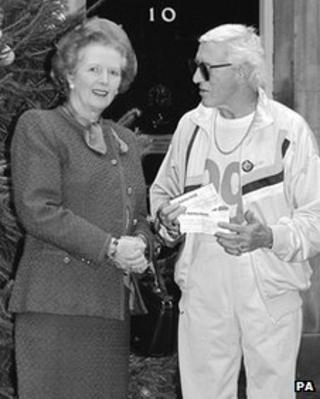 Margaret Thatcher and Jimmy Savile outside Downing Street in 1988