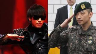 Rain on stage, left, and saluting in uniform