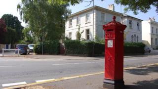 Penfold pillar box at corner of Pittville Circus Road and Hewlett Road in Cheltenham