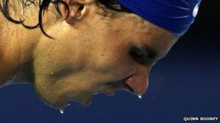 Rafa Nadal sweating