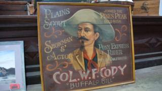 Sign advertising legendary Wild West showman Buffalo Bill