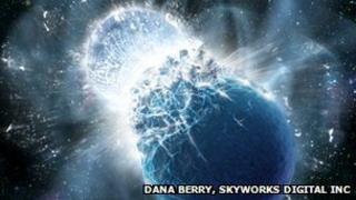 An artist's impression of a neutron star collision