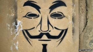 A graffiti stencil painting of the V for Vendetta mask