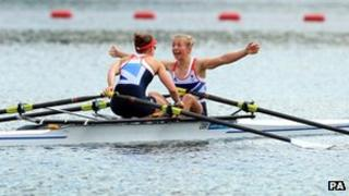 GB's Sophie Hosking and Katherine Copeland celebrate winning gold.