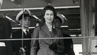 Queen Elizabeth II and officers