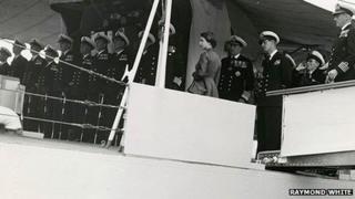 Queen Elizabeth II on board ship