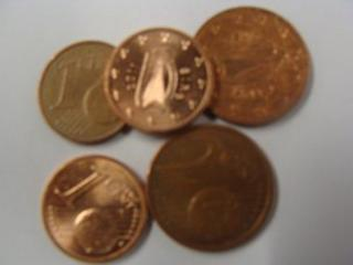 One and two cent Irish coins