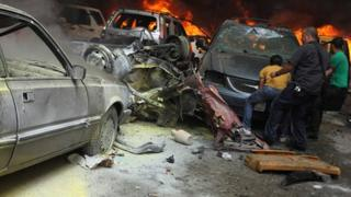 Site of a car bomb blast in Beirut stronghold of Hezbollah, on 9 July 2013