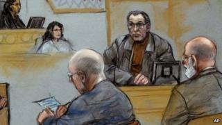 Courtroom sketch showing Stephen Flemmi giving evidence. 19 July 2013