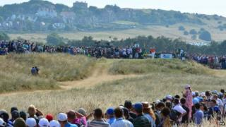 """England""""s Lee Westwood tees off the 4th during day three of the 2013 Open Championship at Muirfield Golf Club, East Lothian"""