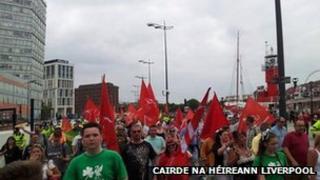 Parade through Liverpool