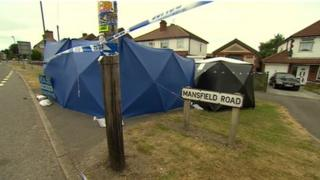 Forensic tents in Mansfield Road