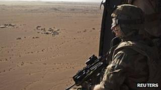 A French soldier on patrol near Tessalit in northern Mali (file pic 2013)