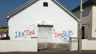 Sectarian graffiti daubed on Bellaghy Orange Hall