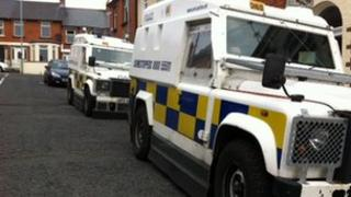 Police Land Rovers in Marlborough Avenue, Londonderry