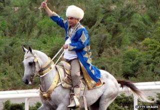Gurbanguly Berdimuhamedov riding a horse