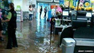 ASDA in Arnold flooded