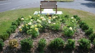 A rose bed to commemorate World War II munitions workers