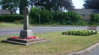 War memorial and rose bed