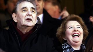 Brian and Barbara Clough at Burton Albion's game against Hartlepool United in 2003
