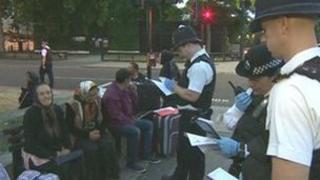 Roma Gypsies undergoing immigration checks