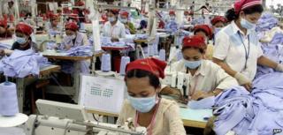 A garment manufacturing factory in Cambodia