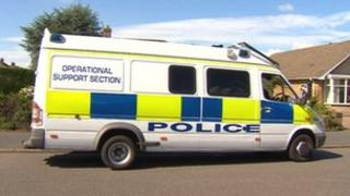 Police van at scene of assault in Scunthorpe