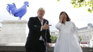 Mayor Boris Johnson with Katharina Fritsch