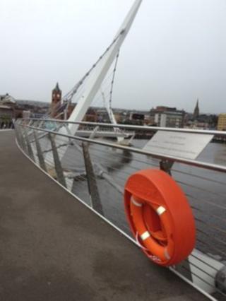 A lifebelt on the Peace Bridge, Derry